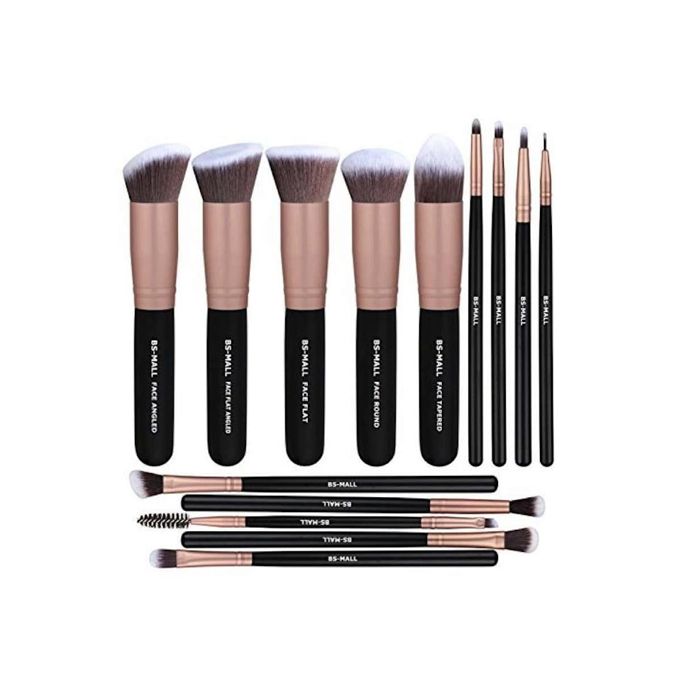 "<p><strong>Star Rating:</strong> 4.6 out of 5</p> <p><strong>Key selling points:</strong> The subtle curves on these ultrasoft brushes will mesh with the angles of your face flawlessly, delivering natural-looking blending ideal for a low-key, luminescent look. They're the perfect mix plush and firm, and glide smoothly across your skin, regardless of what technique you're using. Reviewers can't stop raving about how high-end these feel, so it's a miracle they ring in under $15.</p> <p><strong>What customers say:</strong> ""10/10 would recommend. I've worked at the beauty counter and used several high-end-brand brushes. I would definitely say these are comparable. But the brush itself is soft and feels just as good as the pricier brands. I have very pricey brushes that constantly shed from day one until now after several washes, but not these. I gave them a pretty aggressive wash, and the brush and handle feel very sturdy and well-made. Definitely give these a try if you hate spending a ton of money but want good quality brushes."" <em>—</em><a href=""https://amzn.to/2Oi39Ov"" rel=""nofollow noopener"" target=""_blank"" data-ylk=""slk:Trish"" class=""link rapid-noclick-resp""><em>Trish</em></a></p> $12, Amazon. <a href=""https://www.amazon.com/BS-MALL-Brushes-Synthetic-Foundation-Concealers/dp/B01LZ3RLPC/ref=sr_1_4"" rel=""nofollow noopener"" target=""_blank"" data-ylk=""slk:Get it now!"" class=""link rapid-noclick-resp"">Get it now!</a>"
