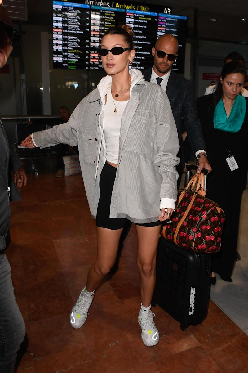 Bella Hadid arriving at Nice Airport (AbacaPress / SplashNews.com)