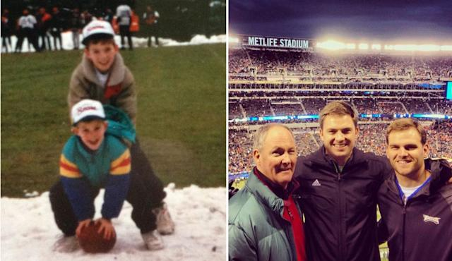 Zac and Press as kids (left) and with dad, Sherwood (right)