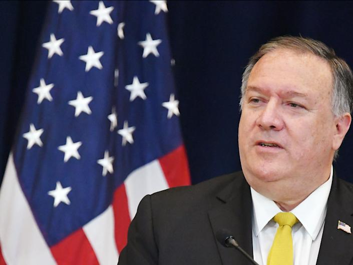 In this file photo taken on 19 August 2020 US Secretary of State Michael Pompeo speaks during a press conference with Iraq's Foreign Minister Fuad Hussein at the State Department in Washington, DC. (AFP via Getty Images)