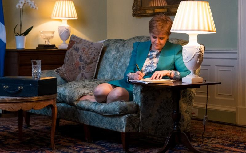 First Minister Nicola Sturgeon in the Drawing Room in Bute House, Edinburgh, working on the final draft of her Section 30 letter to the Prime Minister - Stuart Nicol Photography