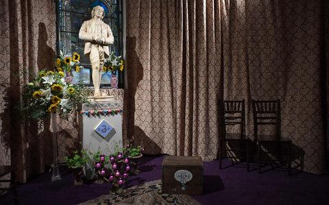 The secular temple devoted to Oscar Wilde which was opened to the public in the basement of the Church of the Village in New York - Credit: AFP