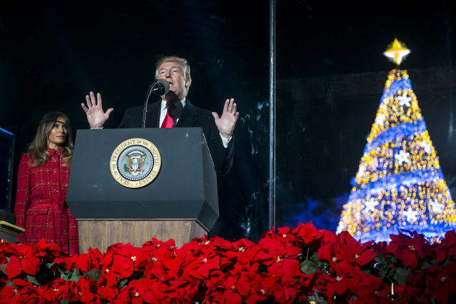 <p>President Donald Trump participates in the 95th annual national Christmas tree lighting ceremony held by the National Park Service on the Ellipse near the White House on Nov,30, 2017 in Washington. (Photo: Al Drago-Pool/Getty Images) </p>