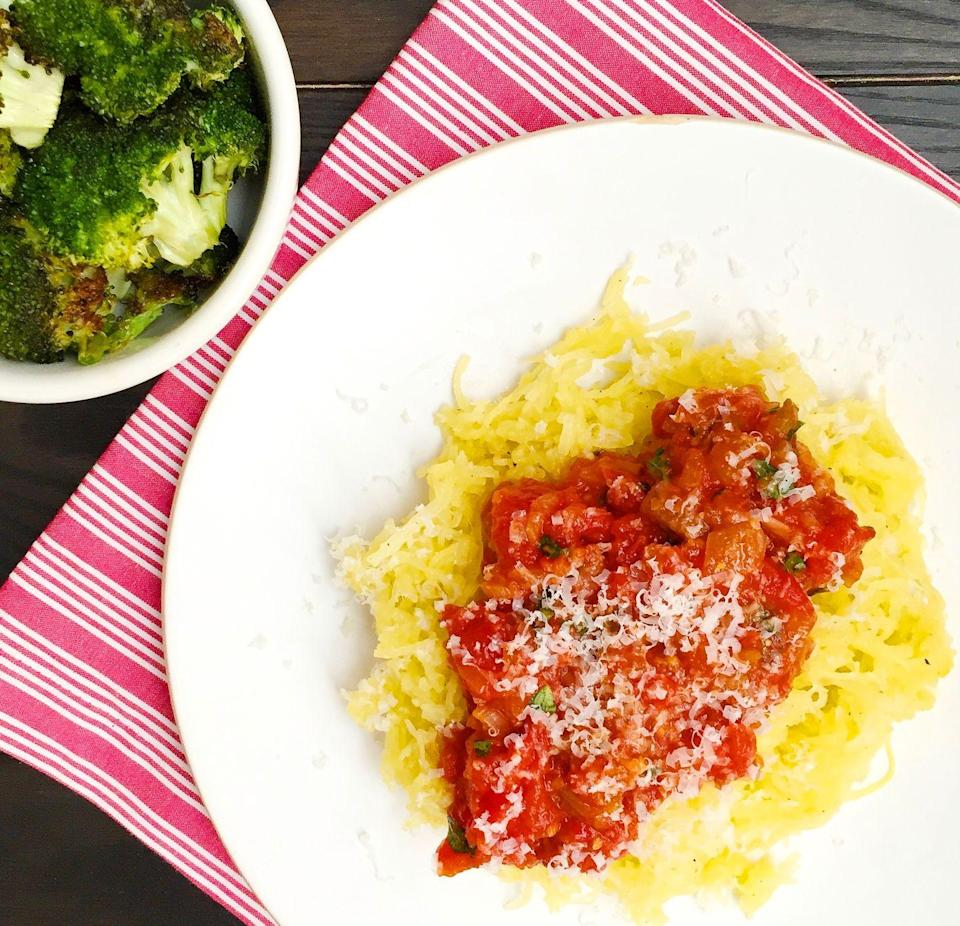 "<p>We swear there's no pasta in there.</p><p>Get the recipe from <a href=""https://www.delish.com/cooking/recipe-ideas/recipes/a43797/parmesan-spaghetti-squash-tomato-sauce-roasted-broccoli-recipe/"" rel=""nofollow noopener"" target=""_blank"" data-ylk=""slk:Delish"" class=""link rapid-noclick-resp"">Delish</a>.</p>"