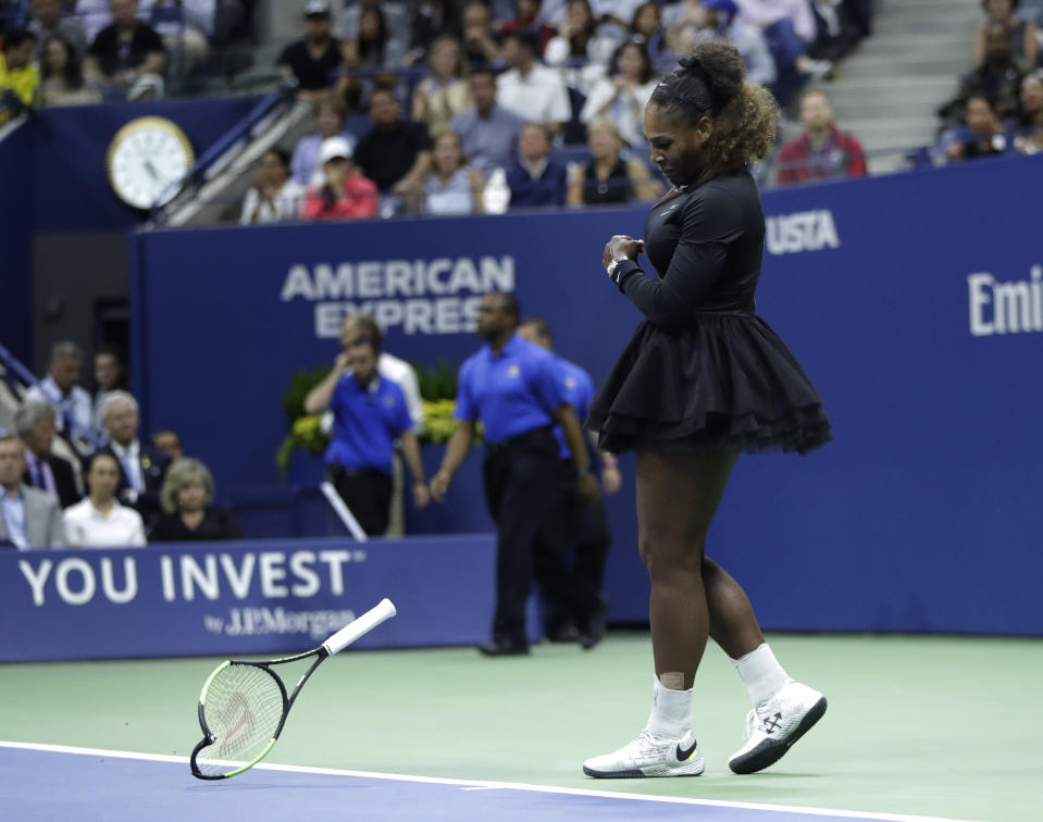 The racket Serena Williams smashed during her 2018 U.S. Open loss to Naomi Osaka netted a big profit for a memorabilia dealer. (AP Photo/Julio Cortez)
