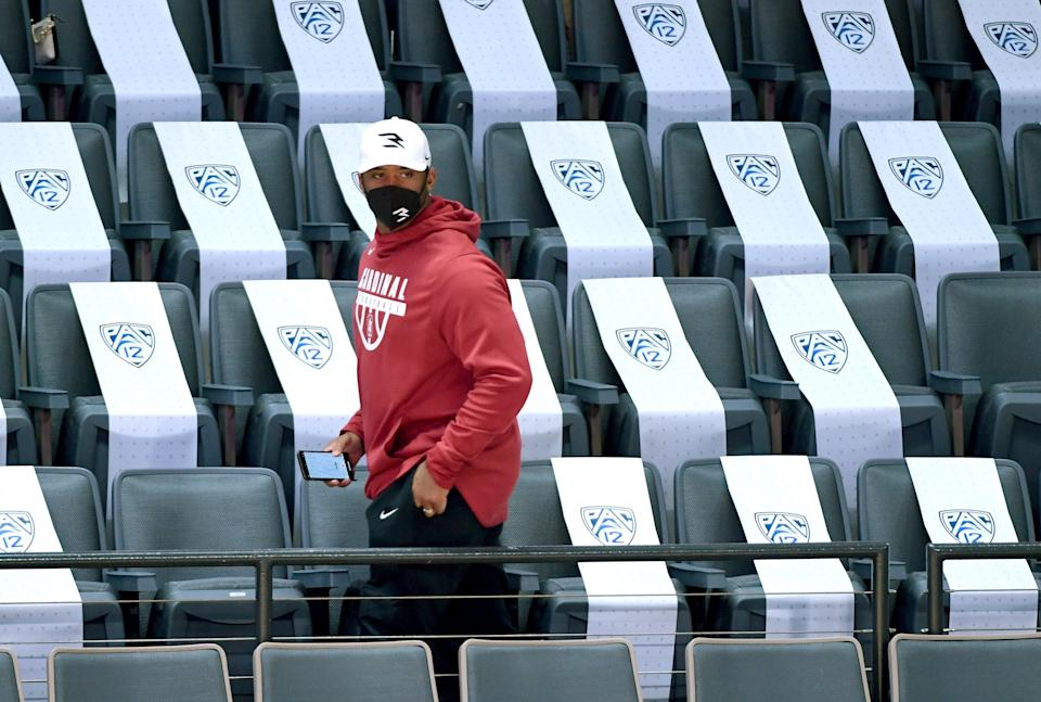 Seattle Seahawks quarterback Russell Wilson is a regular attendee of Stanford women's basketball games, always cheering on younger sister Anna.
