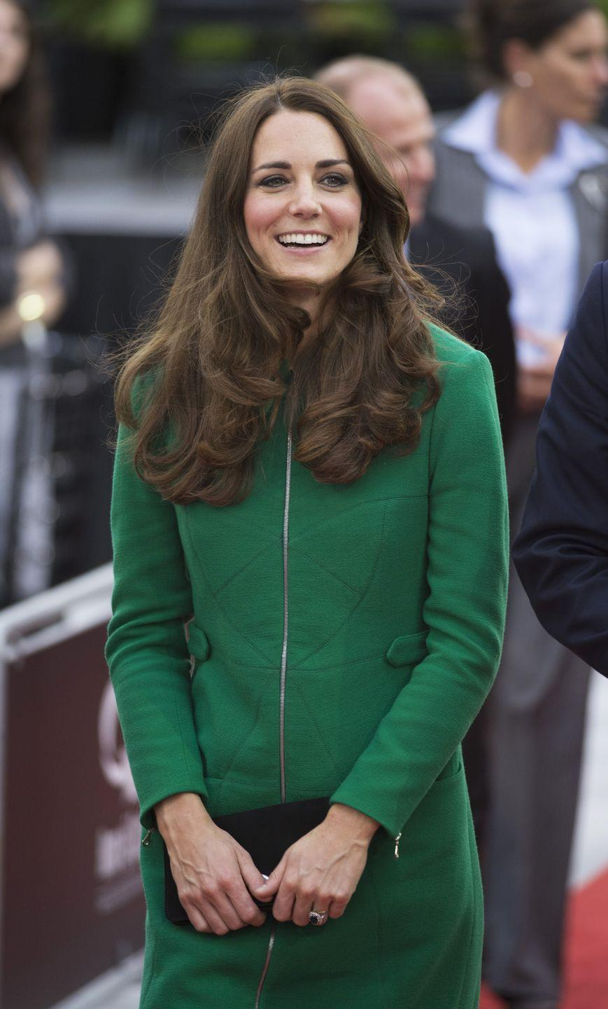 <p>Here she is wearing a green Erdem coat in Hamilton, New Zealand, during the Australia New Zealand tour. </p>