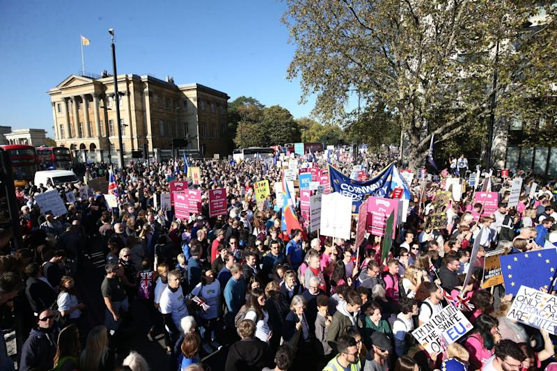 Hundreds of thousands of campaigners take part in the People's Vote March: PA