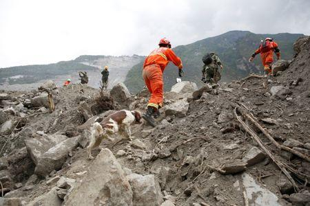 Rescue workers search for survivors at the site of a landslide in the village of Xinmo, Mao County, Sichuan Province, China June 26, 2017. REUTERS/Aly Song