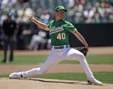 Oakland Athletics pitcher Chris Bassitt works against the Chicago White Sox in the first inning of a baseball game Saturday, July 13, 2019, in Oakland, Calif. (AP Photo/Ben Margot)
