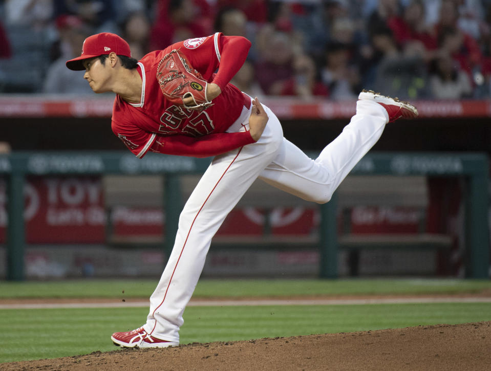 Shohei Ohtani is scheduled to pitch on Sunday after a nearly three-month absence with a UCL injury. (AP)