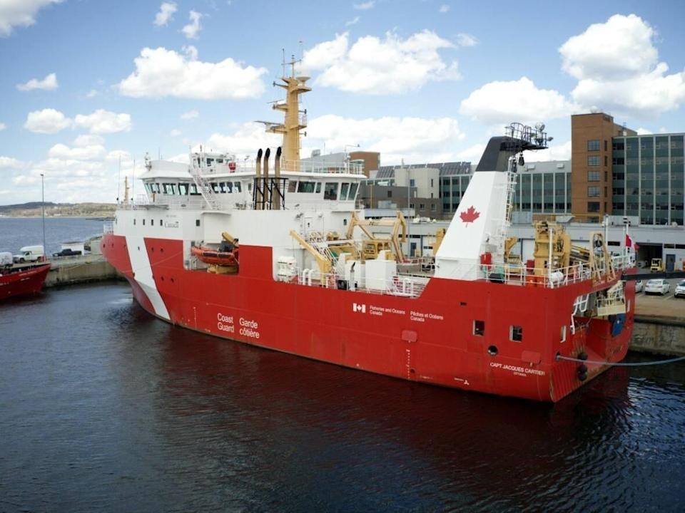 The CCGS Jacques Cartier sits at the Dartmouth dock of the Bedford Institute of Oceanography on May 14, 2021. (Steve Lawrence/CBC - image credit)