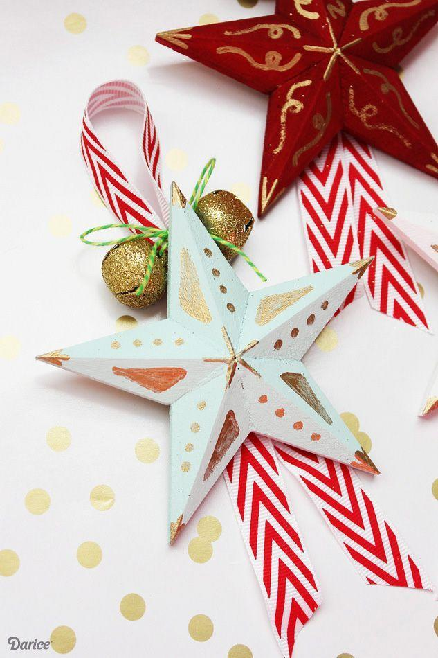 """<p>Don't be intimidated by this decoration's intricate details! This simple project utilizes paint pens to easily embellish these stars. </p><p><strong>Get the tutorial at <a href=""""http://blog.darice.com/holiday/winter/diy-star-ornaments/"""" rel=""""nofollow noopener"""" target=""""_blank"""" data-ylk=""""slk:Darice"""" class=""""link rapid-noclick-resp"""">Darice</a>.</strong></p><p><strong><a class=""""link rapid-noclick-resp"""" href=""""https://www.amazon.com/Darice-9191-50-Wood-Star-4-Inch/dp/B0054G5OMY/?tag=syn-yahoo-20&ascsubtag=%5Bartid%7C10050.g.1070%5Bsrc%7Cyahoo-us"""" rel=""""nofollow noopener"""" target=""""_blank"""" data-ylk=""""slk:SHOP WOODEN STARS"""">SHOP WOODEN STARS</a><br></strong></p>"""