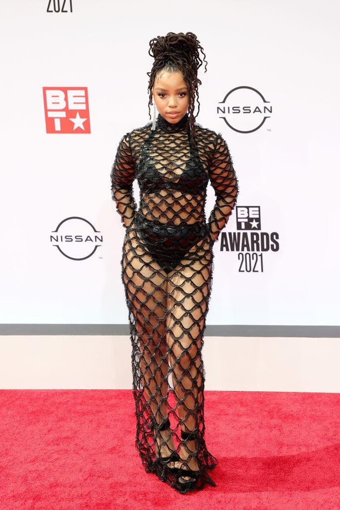 Chloe Bailey attends the BET Awards 2021 in a see-though mesh gown