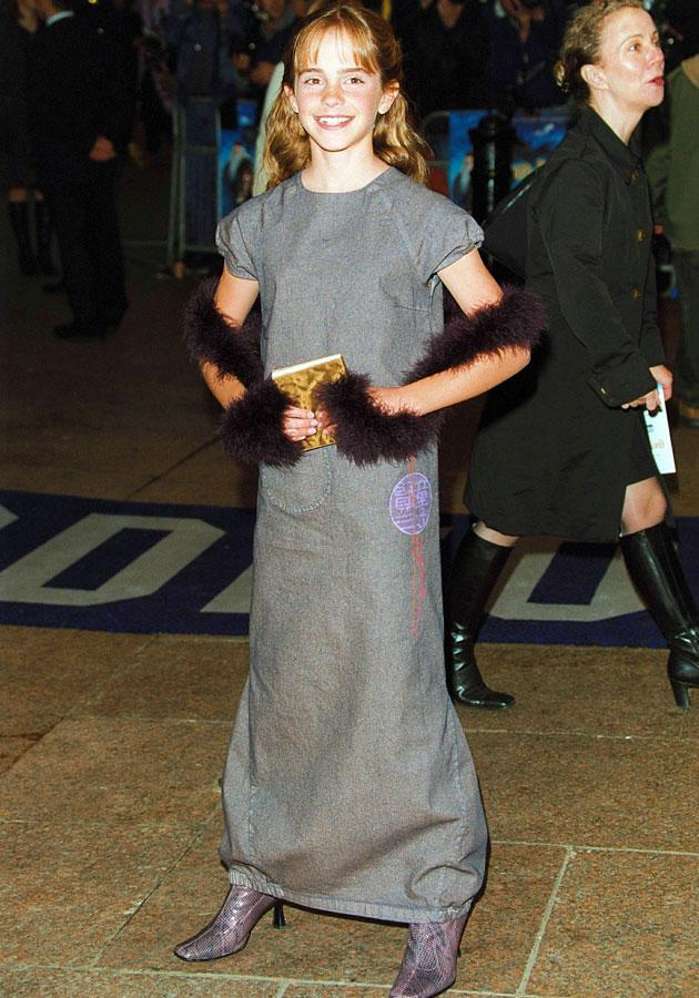 Emma Watson wore a grey dress with a purple stole at the Harry Potter and the Philosopher's Stone premiere in London.