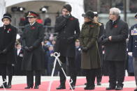 National Silver Cross Mother Reine Samson Dawe, left to right, Governor General Julie Payette, Prime Minister Justin Trudeau, Sophie Grégoire Trudeau and Minister of Veterans Affairs and Associate Minister of National Defence Lawrence MacAulay participate in the National Remembrance Day Ceremony at the National War Memorial in Ottawa, Monday, November 11, 2019. THE CANADIAN PRESS/Adrian Wyld