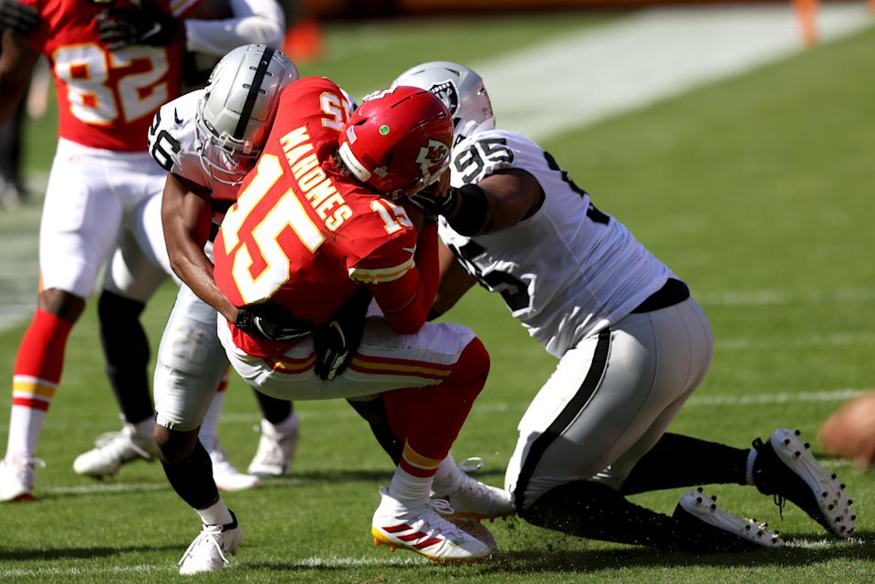 Patrick Mahomes and the Chiefs had a rough day in their first meeting with the Raiders. (Photo by Jamie Squire/Getty Images)