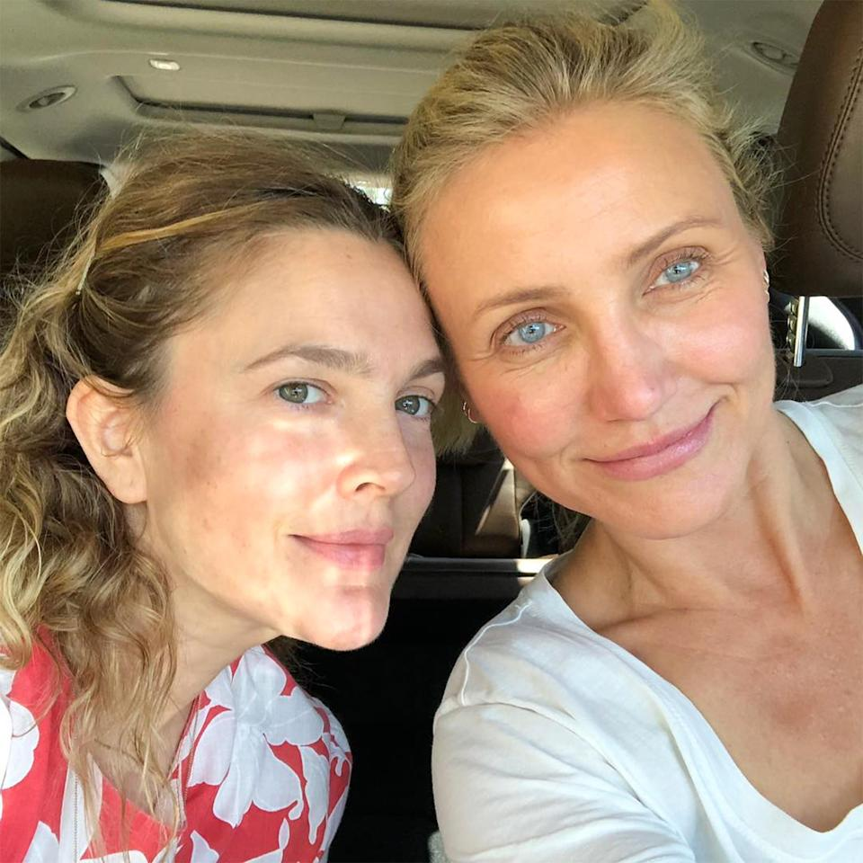 """<p>The longtime BFFs showed off their glowing complexions in this <a href=""""https://www.instagram.com/p/BlLlgA-g-P5/"""" rel=""""nofollow noopener"""" target=""""_blank"""" data-ylk=""""slk:makeup-free snap"""" class=""""link rapid-noclick-resp"""">makeup-free snap</a>, in which Barrymore advocated for """"sunscreen always"""" in the caption.</p>"""
