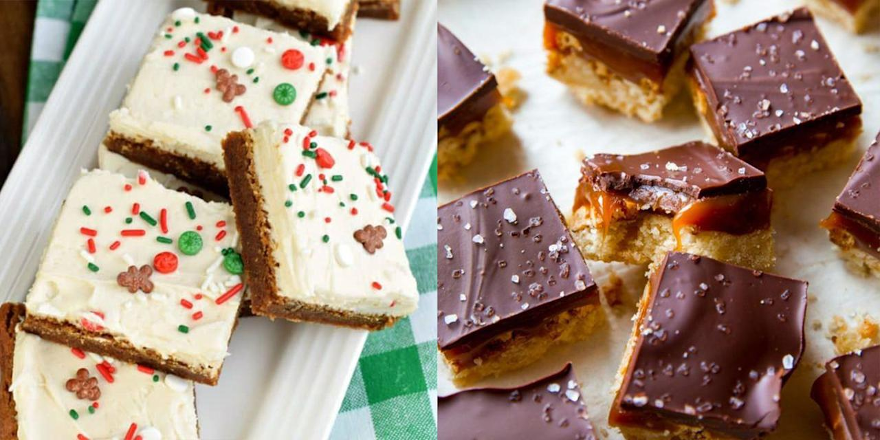 """<p>For many people, one of the best parts of the holiday season is <a href=""""https://www.goodhousekeeping.com/holidays/christmas-ideas/g2943/christmas-cookies/"""" target=""""_blank"""">delicious Christmas cookies</a> — the therapeutic act of baking, the intoxicating aromas, the swapping, the sharing, the devouring. But not everyone who loves holiday baking finds joy in the more tedious and time-consuming parts of the process, like rolling out and cutting dough. If you're one of those people, we've got the perfect solution: Christmas bar cookies. </p><p>If you're unfamiliar, a bar cookie combines all the deliciousness of a cookie with the practicality of a box cake. Basically, all you've got to do is bake one giant cookie in a baking pan and then cut it into bars or squares. Christmas bar cookies — which can be whipped up with seasonal flavors, festive designs, and even <a href=""""https://www.goodhousekeeping.com/holidays/christmas-ideas/g4022/christmas-candy/"""" target=""""_blank"""">yummy Christmas candy</a> — are every bit as delicious as other holiday recipes, and are often easier to make. We rounded up the best Christmas cookie bar recipes for holiday baking without a pinch of added stress. And if you've got some more time on your hands try one of our favorite <a href=""""https://www.goodhousekeeping.com/uk/christmas/christmas-recipes/g549910/best-christmas-cake-recipes/"""" target=""""_blank"""">traditional Christmas cake recipes</a>. </p>"""