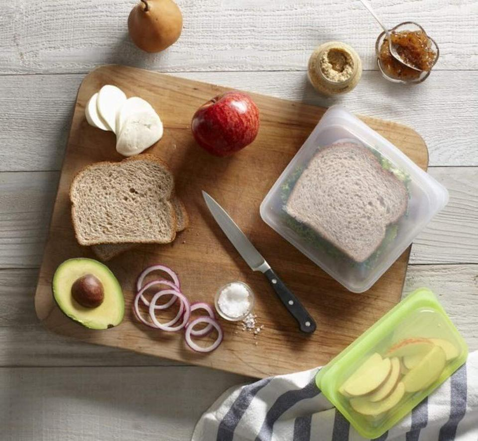 """These reusable and resealable bags are incredibly popular because they're freezer-safe, microwave-safe and dishwasher-friendly. Just be sure the kiddos bring them home after school.<strong><a href=""""https://amzn.to/2GV3eRP"""" target=""""_blank"""" rel=""""noopener noreferrer"""">Find Stasher 100% Silicone Reusable Food Bags for $12 on Amazon</a></strong>."""