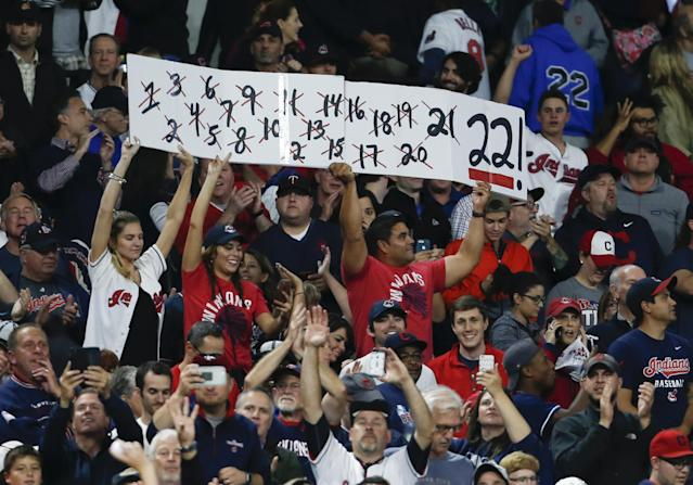 The Indians' 22-game win streak could have paid off big time for a bold sports bettor. (Getty Images)