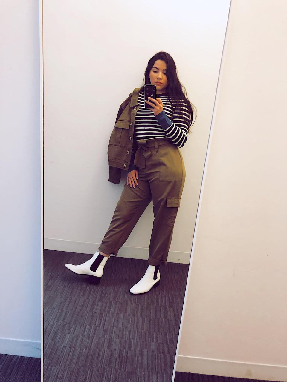 """<p>""""I love a good set - it makes getting dressed infinitely easier. The modern suiting feel that comes with this utility jacket and pants is all I need to feel ready for work after the holidays. With a striped top and white boots, I'm comfortable yet polished, which is pretty much my 2020 style vibe!"""" - Melissa San Vicente, art director</p>"""