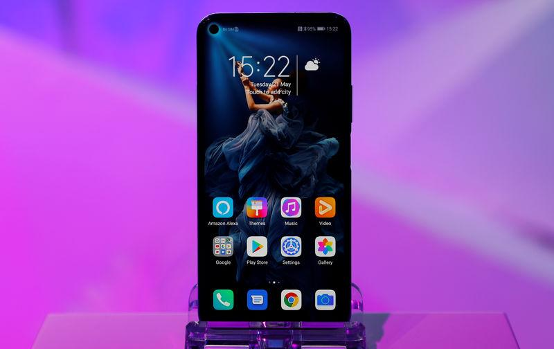 Huawei's new Honor 20 smartphone is seen at a product launch event in London