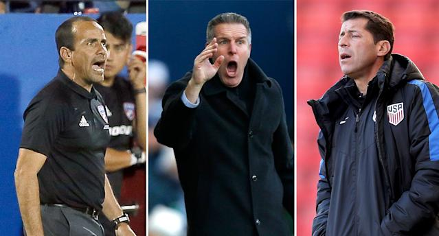 "<a class=""link rapid-noclick-resp"" href=""/soccer/teams/fc-dallas/"" data-ylk=""slk:FC Dallas"">FC Dallas</a> coach Oscar Pareja, <a class=""link rapid-noclick-resp"" href=""/soccer/teams/sporting-kansas-city/"" data-ylk=""slk:Sporting Kansas City"">Sporting Kansas City</a> leader Peter Vermes and U.S. under-20s boss Tab Ramos are all good candidates to replace Bruce Arena as USMNT manager in the long term. (AP/Getty)"