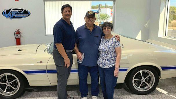 PHOTO: Rudy Quinones, owner of Renown Auto Restoration in San Antonio, is seen in a recent photo with Albert Brigas and his wife wife of 44 years, Sylvia Brigas. (Rudy Quinones/Renown Auto Restoration)