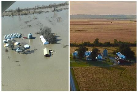A combination of aerial photos show the farm of Richard Oswald near Langdon, Missouri after flooding March 20, 2019 and in the fall of 2018 at right.    Courtesy of Richard Oswald/Handout via REUTERS.
