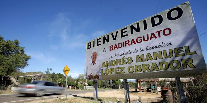 A billboard welcoming Mexican President Andres Manuel Lopez Obrador ahead of his visit to Badiraguato, in Sinaloa state, February 15, 2019.