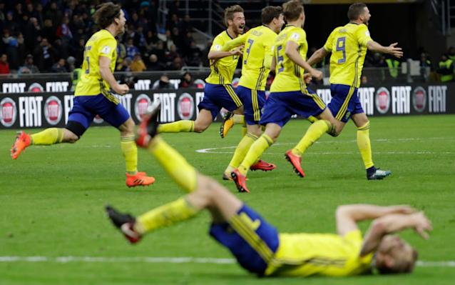 Sweden celebrated wildly qualifying for the World Cup - AP