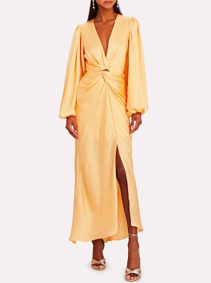 """Behold, the perfect blend between peach and yellow. Anybody else craving a creamsicle push-pop? $255, Intermix. <a href=""""https://www.intermixonline.com/significant-other/adorn-jacquard-satin-maxi-dress/SS201029D-PRT.html"""" rel=""""nofollow noopener"""" target=""""_blank"""" data-ylk=""""slk:Get it now!"""" class=""""link rapid-noclick-resp"""">Get it now!</a>"""