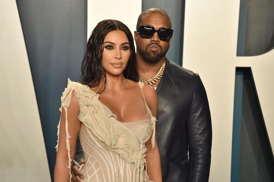 Kim Kardashian West has opened up about her husband, Kanye's bipolar disorder, pictured here in February 2020. (Getty Images)