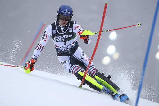 France's Clement Noel speeds down the course during an alpine ski, men's World Cup slalom in Zagreb, Croatia, Wednesday, Jan. 6, 2021. (AP Photo/Marco Trovati)