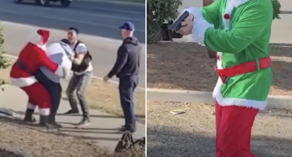Police officers dressed as Santa and an elf nab suspected carjackers