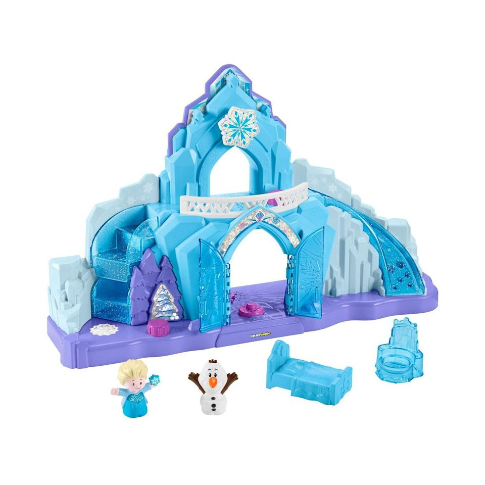 """<p><strong>Little People</strong></p><p>kohls.com</p><p><strong>$39.99</strong></p><p><a href=""""https://go.redirectingat.com?id=74968X1596630&url=https%3A%2F%2Fwww.kohls.com%2Fproduct%2Fprd-3855738%2Fdisneys-frozen-elsas-ice-palace-playset.jsp&sref=https%3A%2F%2Fwww.goodhousekeeping.com%2Fchildrens-products%2Ftoy-reviews%2Fg5150%2Fbest-toys-for-two-year-olds%2F"""" rel=""""nofollow noopener"""" target=""""_blank"""" data-ylk=""""slk:Shop Now"""" class=""""link rapid-noclick-resp"""">Shop Now</a></p><p>Kids ages 18 months+ love toys that tie in with their favorite movies and characters, so this castle from <a href=""""https://www.amazon.com/Frozen-Kristen-Bell/dp/B00J2PCCYQ?tag=syn-yahoo-20&ascsubtag=%5Bartid%7C10055.g.5150%5Bsrc%7Cyahoo-us"""" rel=""""nofollow noopener"""" target=""""_blank"""" data-ylk=""""slk:Frozen"""" class=""""link rapid-noclick-resp""""><em>Frozen</em></a> will definitely keep them occupied for hours. It comes with Elsa and Olaf dolls so they can act out their favorite scenes. When you line her up on the right spot, <strong>Elsa will start singing the movie's most popular song</strong>, """"Let It Go!"""" This toy was such a hit, it snagged a <a href=""""https://www.goodhousekeeping.com/childrens-products/toy-reviews/a29465472/good-housekeeping-toy-awards-2019/"""" rel=""""nofollow noopener"""" target=""""_blank"""" data-ylk=""""slk:Good Housekeeping 2019 Toy Award"""" class=""""link rapid-noclick-resp"""">Good Housekeeping 2019 Toy Award</a>. </p>"""
