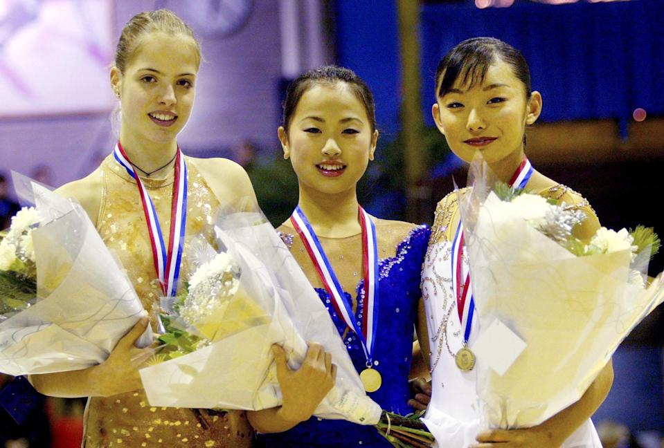 <p>Japanese skater Miki Ando (center) landed the first ratified quadruple salchow in competition in her long program at the Junior Grand Prix Final in Slovenia. </p>