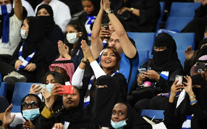 Saudi women were granted access to stadiums for the first time in 2018 - Saudi women were granted access to stadiums for the first time in 2018 - AFP