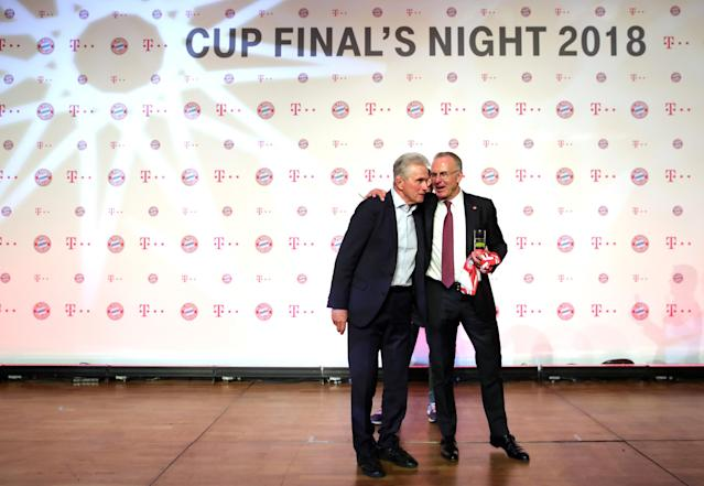Soccer Football - DFB Cup Final - Bayern Munich vs Eintracht Frankfurt - Berlin, Germany - May 19, 2018. Bayern Munich CEO Karl-Heinz Rummenigge and coach Jupp Heynckes attend a reception after the match. Picture taken May 19, 2018. Alexander Hassenstein/Pool via Reuters