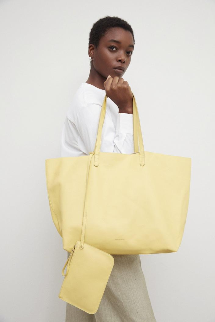 <p>If you're looking for something on the larger side for all your necessities, then get the <span>Mansur Gavrie Oversized Tote</span> ($695).</p>