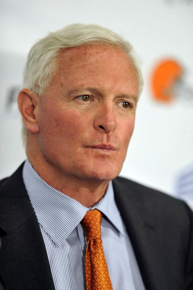 File- This May 29, 2013, file photo shows Cleveland Browns owner Jimmy Haslam during a news conference in Cleveland. Authorities say the truck-stop company owned by Jimmy Haslam and Tennessee Gov. Bill Haslam has agreed to pay $92 million in fines for cheating customers out of promised rebates and discounts. The agreement was signed by attorneys for the nation's largest diesel retailer Friday. The agreement does not protect any individual at Pilot from prosecution and requires the company to cooperate with an ongoing investigation of current and former employees. Haslam has said he was unaware of the scheme. Tenn. Gov. Bill Haslam is not involved in Pilot's day-to-day operations. (AP Photo/David Richard, File)