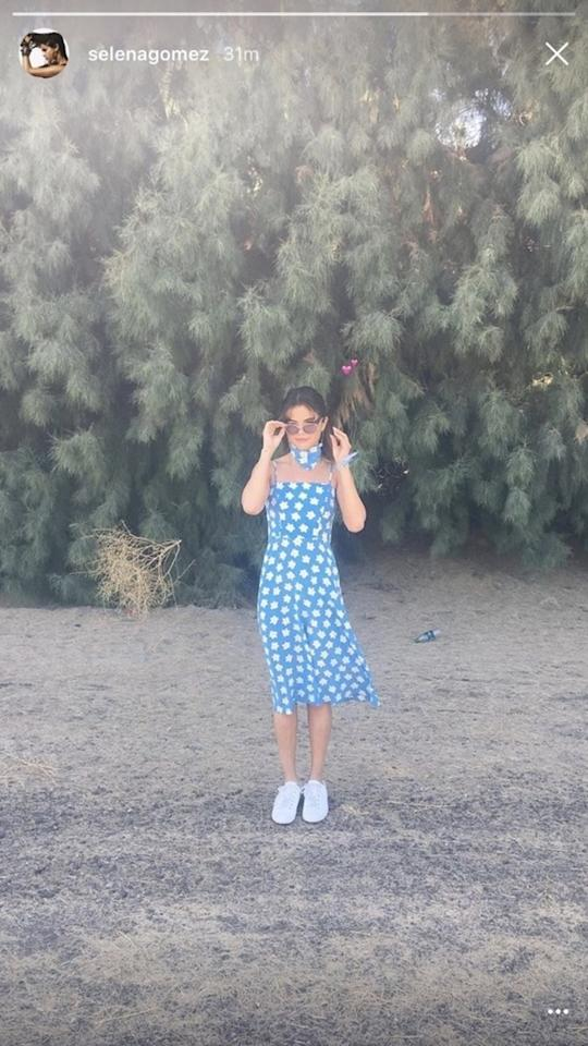 <p>We said it once and we'll see it again: this polka-dotted blue number is the most perfect picnic-donning dress ever.</p>