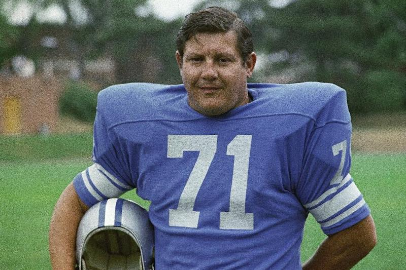 FILE - In this 1971 file photo, Detroit Lions football player Alex Karras poses for a photo, location not known. Now 76, and diagnosed with dementia, Karras is taking on the role of lead plaintiff: He and his wife, Susan Clark, are two of 119 people who filed suit Thursday, April 12, 2012, in U.S. District Court in Philadelphia, the latest complaint brought against the NFL by ex-players who say the league didn't do enough to protect them from head injuries. (AP Photo/File)