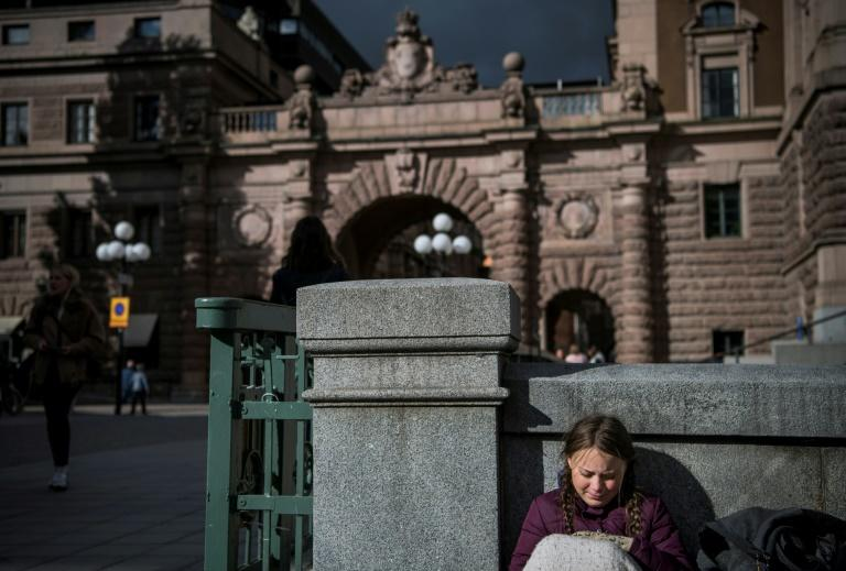 Greta Thunberg, pictured in September 2018, began her climate school strike outside the Swedish parliament last year (AFP Photo/Jonathan NACKSTRAND)
