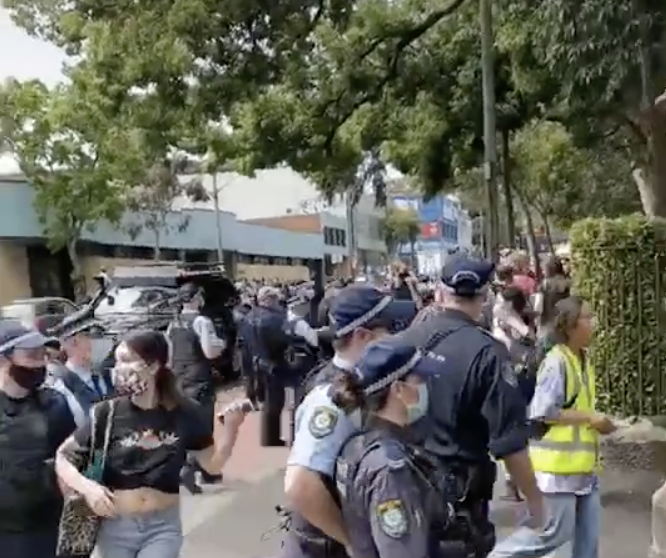 Chaotic scenes were captured in the Sydney Uni protest footage shared to TikTok. Source: TikTok/ftpi3i2