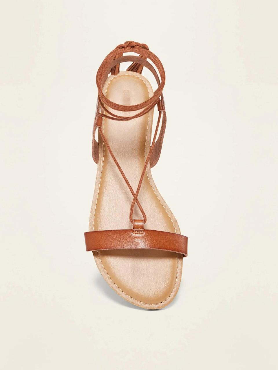 <p>These <span>Strappy Faux-Leather Lace-Up Sandals</span> ($30) will elevate any outfit and make a statement. They also come in black.</p>