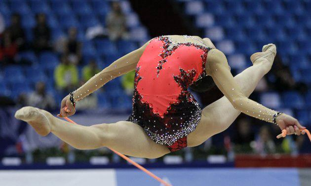 Yamaguchi Runa, of Japan, performs with the rope during the Individual All-Around at the 30th Rhythmic Gymnastics world championships in Moscow, Russia, on Monday, Sept. 20, 2010. (AP Photo/Ivan Sekretarev)
