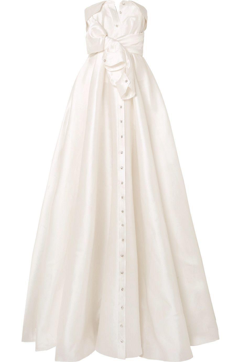 """<p><strong>Alexis Mabille</strong></p><p>net-a-porter.com</p><p><strong>$4290.00</strong></p><p><a href=""""https://go.redirectingat.com?id=74968X1596630&url=https%3A%2F%2Fwww.net-a-porter.com%2Fus%2Fen%2Fproduct%2F1071713&sref=https%3A%2F%2Fwww.harpersbazaar.com%2Fwedding%2Fbridal-fashion%2Fg7503%2Foff-the-rack-wedding-dresses%2F"""" rel=""""nofollow noopener"""" target=""""_blank"""" data-ylk=""""slk:SHOP NOW"""" class=""""link rapid-noclick-resp"""">SHOP NOW</a></p><p>A shirtdress-inspired ballgown that buttons up the front is formal— but at the same time, doesn't take itself too seriously. </p>"""