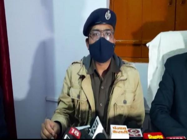 SSP Sankalp Sharma speaking to reporters in Badaun on Wednesday.